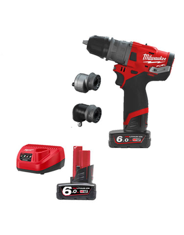 Milwaukee M12FPDX-602C Fuel Compact Drill Driver With Interchangeable Chucks 2 x 6AMH Batteries Charger