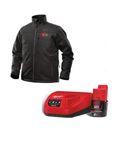 Milwaukee M12HJBL4-201 12v Heated Black Jacket Medium 1 x 2Ah Battery & Charger