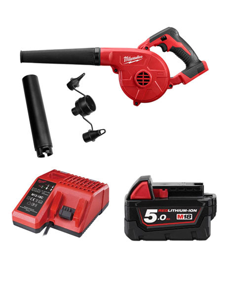 MILWAUKEE M18BBL-501 18V COMPACT 3 SPEED GARDEN LEAF SITE BLOWER 1 x 5AMH BATTERY + CHARGER