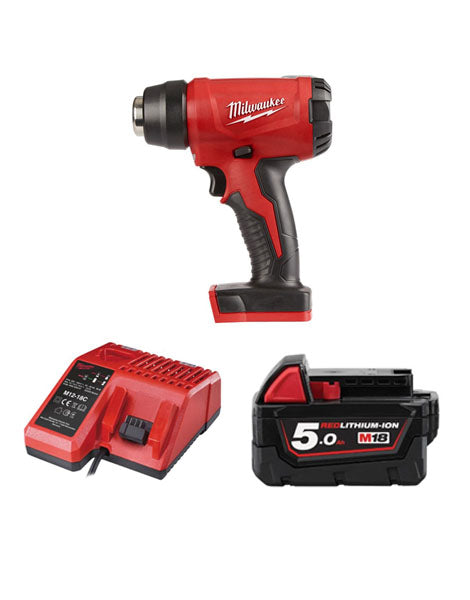 Milwaukee M18BHG-501 Cordless Brushed Heat Gun 1 x 5amh Battery + Charger