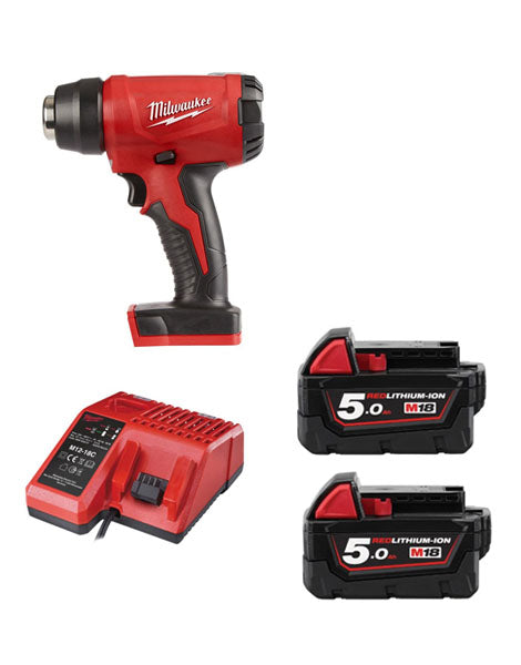 Milwaukee M18BHG-502 Cordless Brushed Heat Gun 2 x 5amh Battery + Charger