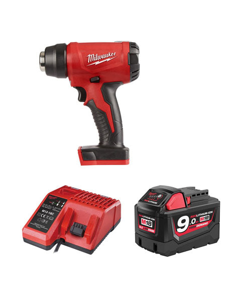 Milwaukee M18BHG-901 Cordless Brushed Heat Gun 1 x 9amh Battery + Charger