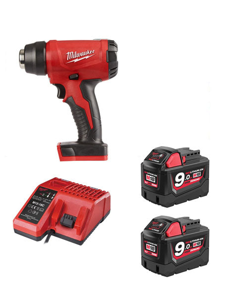 Milwaukee M18BHG-902 Cordless Brushed Heat Gun 2 x 9amh Battery + Charger