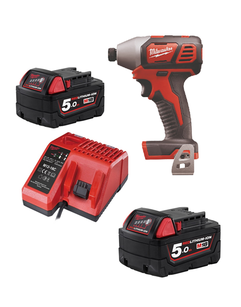 Milwaukee M18BID-502C 18v Impact Driver 2 x 5amh Batteries Charger