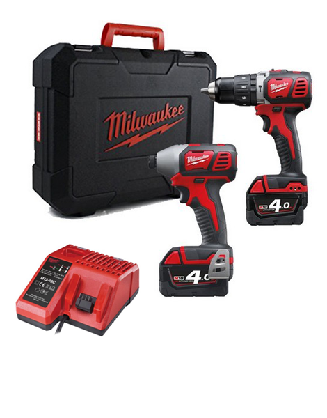MILWAUKEE M18BPP2I-402 18V BRUSHED TWIN PACK 2 X 4.0AH LI-ION BATTERIES + CHARGER