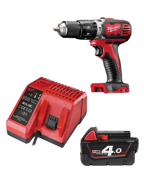 Milwaukee M18BPD-401C 18v Compact Combi Hammer Drill 1 x 4amh Batteries Charger