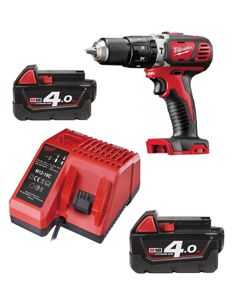 Milwaukee M18BPD-402C 18v Compact Combi Hammer Drill 2 x 4amh Batteries Charger