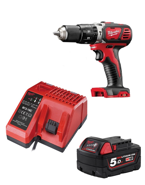 Milwaukee M18BPD-501C 18v Compact Combi Hammer Drill 1 x 5amh Battery & Charger