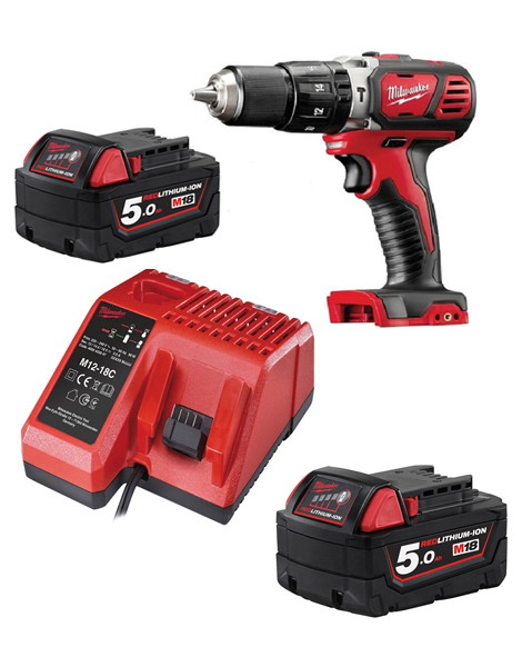 Milwaukee M18BPD-502C 18v Compact Combi Hammer Drill 2 x 5amh Batteries Charger