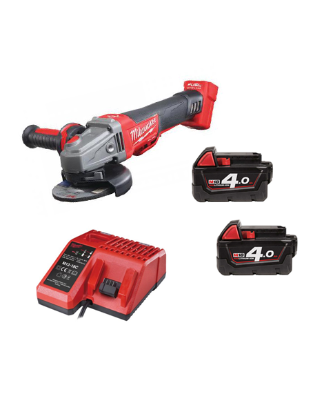 Milwaukee M18CAG115XPDB-402C 18v 115mm WORLD FIRST FUEL BREAKING ANGLE GRINDER 2 x 4amh Batteries Charger