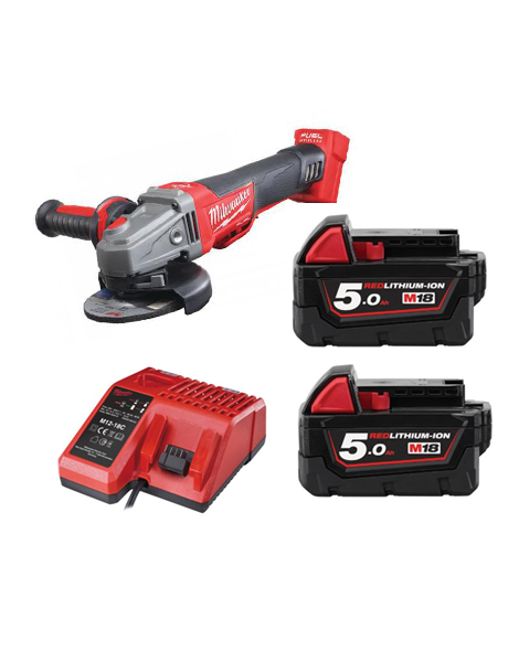 Milwaukee M18CAG115XPDB-502C 18v 115mm WORLD FIRST FUEL BREAKING ANGLE GRINDER 2 x 5amh Batteries Charger
