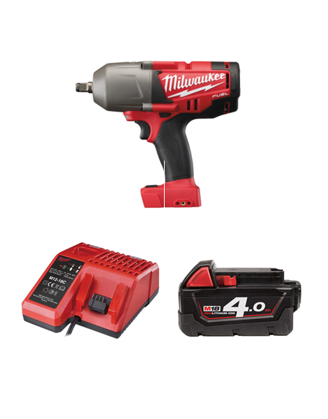 Milwaukee M18CHIWF12-401C M18 Fuel Impact Wrench 1/2 Drive Friction Ring 1 x 4AMH Battery Charger