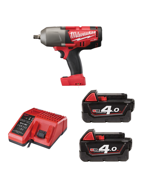 Milwaukee M18CHIWF12-402C M18 Fuel Impact Wrench 1/2 Drive Friction Ring 2 x 4AMH Battery Charger