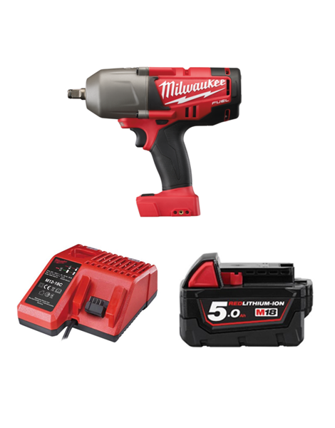 Milwaukee M18CHIWF12-501C M18 Fuel Impact Wrench 1/2 Drive Friction Ring 1 x 5AMH Battery Charger