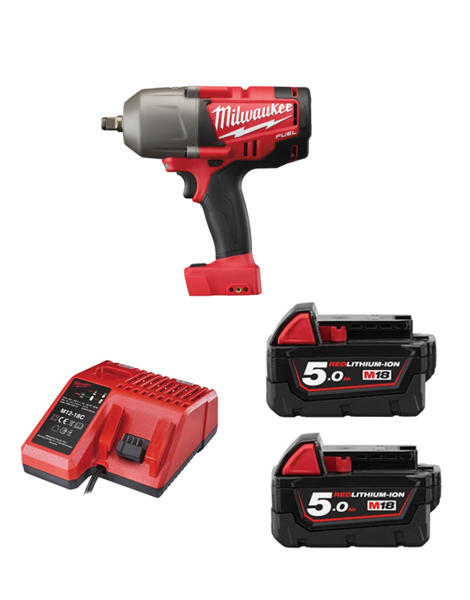 Milwaukee M18CHIWF12-502C M18 Fuel Impact Wrench 1/2 Drive Friction Ring 2 x 5AMH Battery Charger