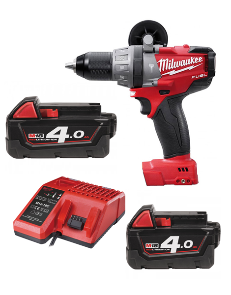 Milwaukee M18CPD-402C Fuel 18v Li-ion Combi Drill 2 X 4AMH Battery Charger