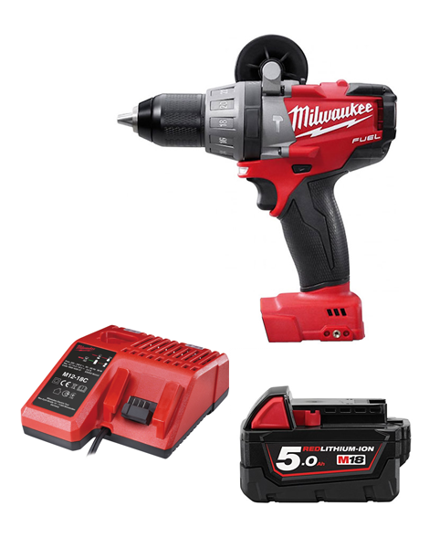 Milwaukee M18CPD-501C Fuel 18v Li-ion Combi Drill 1 X 5AMH Battery Charger