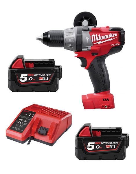 Milwaukee M18FPD-502 18v Brushless Fuel 2 Combi Drill 2 X 5AMH Li-ion Battery Charger