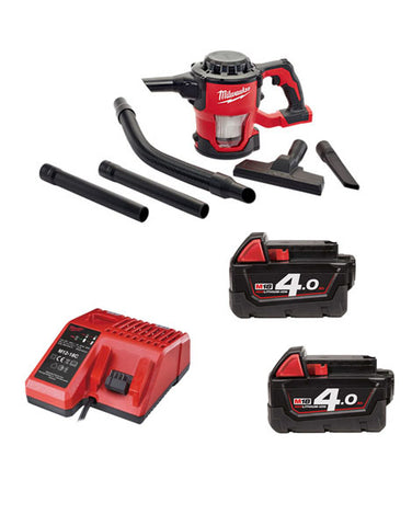 Milwaukee M18CV-402 18v M18 Compact Hand Vacuum 2 x 4amh Batteries + Charger