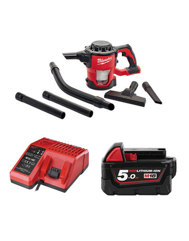 Milwaukee M18CV-501 18v M18 Compact Hand Vacuum 1 x 5amh Battery + Charger