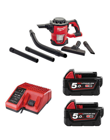 Milwaukee M18CV-502 18v M18 Compact Hand Vacuum 2 x 5amh Batteries + Charger