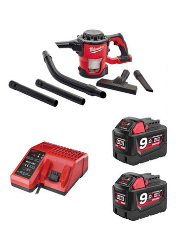 Milwaukee M18CV-902 18v M18 Compact Hand Vacuum 2 x 9amh Batteries + Charger
