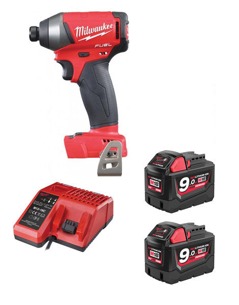 Milwaukee M18FID-902 18v Next Gen Fuel Impact Driver 2 x 9amh Battery Charger