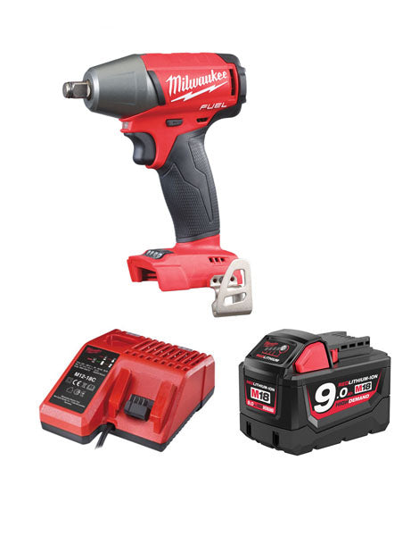 MILWAUKEE M18FIWF12-901 FUEL 2 18V 1/2 INCH IMPACT WRENCH 1 X 9AMH BATTERY CHARGER