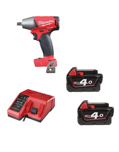 MILWAUKEE M18FIWP12-402 FUEL 2 18V 1/2 INCH PIN DENT IMPACT WRENCH 2 X 4AMH BATTERY CHARGER