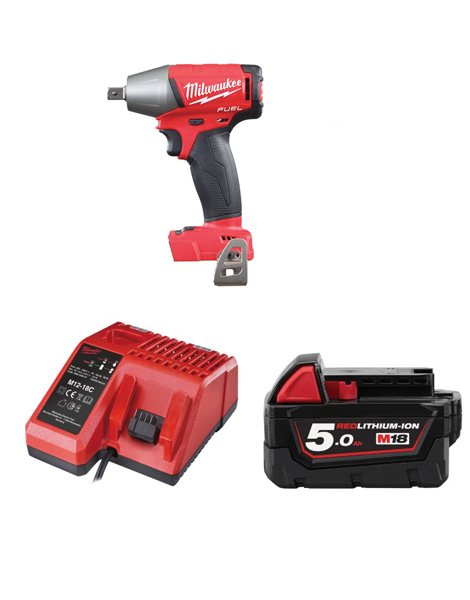 MILWAUKEE M18FIWP12-501 FUEL 2 18V 1/2 INCH PIN DENT IMPACT WRENCH 1 X 5AMH BATTERY CHARGER
