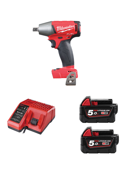 MILWAUKEE M18FIWP12-502 FUEL 2 18V 1/2 INCH PIN DENT IMPACT WRENCH 2 X 5AMH BATTERY CHARGER