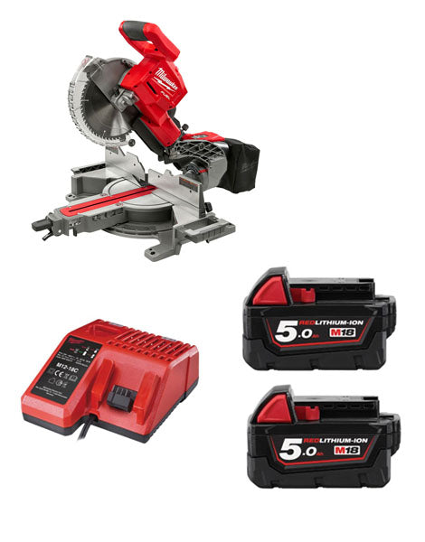 MILWAUKEE M18FMS254-502 M18 CORDLESS FUEL DOUBLE BEVEL MITRE SAW 2 X 5AMH BATTERIES CHARGER