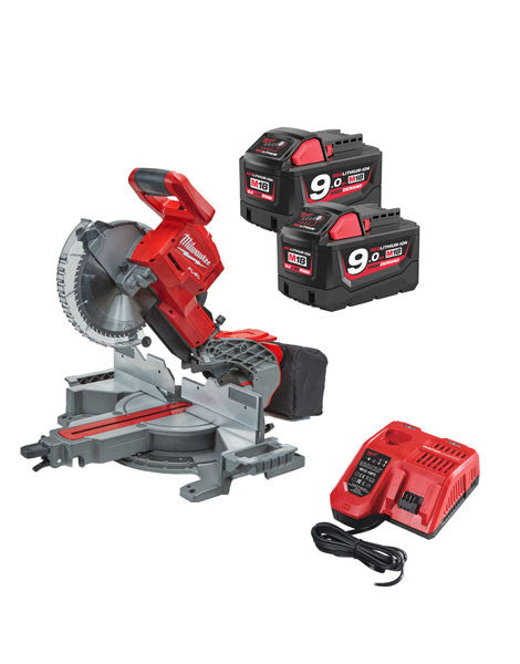 MILWAUKEE M18FMS254-902 M18 CORDLESS FUEL DOUBLE BEVEL MITRE SAW 2 X 9AMH BATTERIES CHARGER