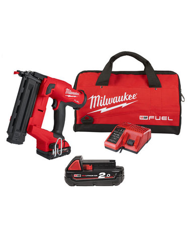 MILWAUKEE 18V FUEL BRUSHLESS 18G 2ND FIX NAIL GUN - M18FN18GS 2 X 2AMH BATTERIES & CHARGER