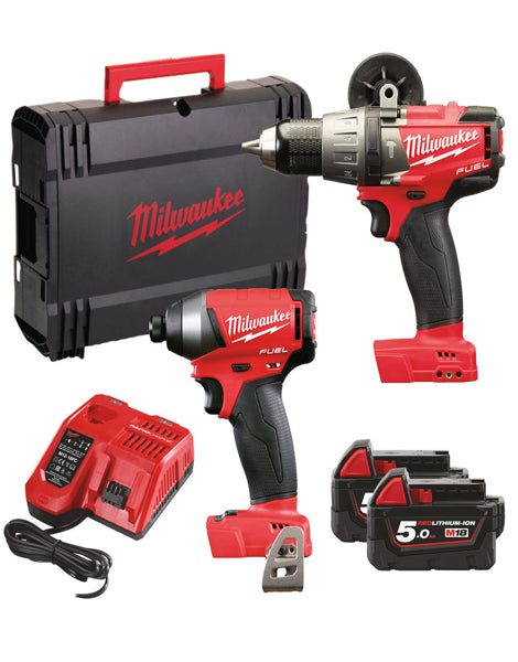 Milwaukee M18FPP2A-502X 18v 2 x 5.0Ah Li-Ion Fuel Combi Drill & Impact Driver Twin Pack