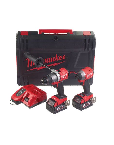 Milwaukee M18FPP2A2-502X Fuel M18FPD2 Drill & M18FID2 Impact Driver 2 x 5.0Ah Batteries + Charger