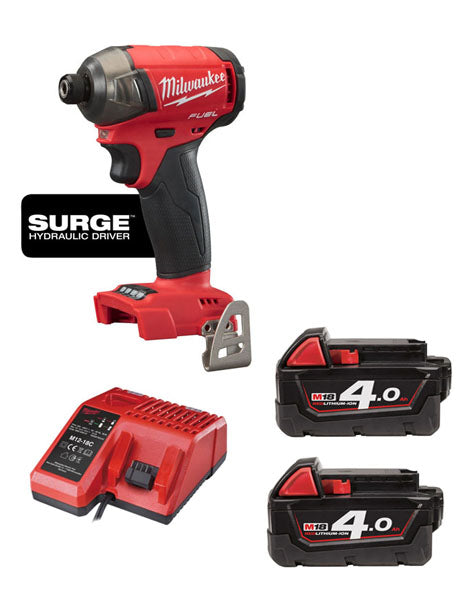 MILWAUKEE M18FQID-402 18V LI-ION M18 FUEL QUIET IMPACT DRIVER 2X 4AH BATTERIES CHARGER
