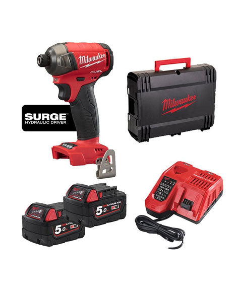 MILWAUKEE M18FQID-502X 18V LI-ION M18 FUEL QUIET IMPACT DRIVER 2X 5AH BATTERIES CHARGER