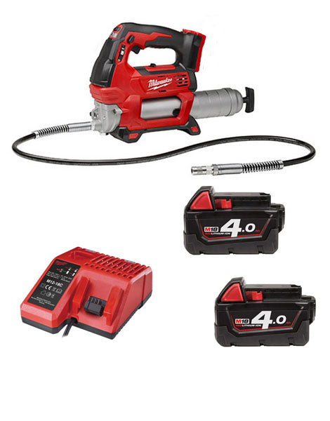 Milwaukee M18GG-402 18V Cordless Grease Gun 2 x 4amh Battery + Charger