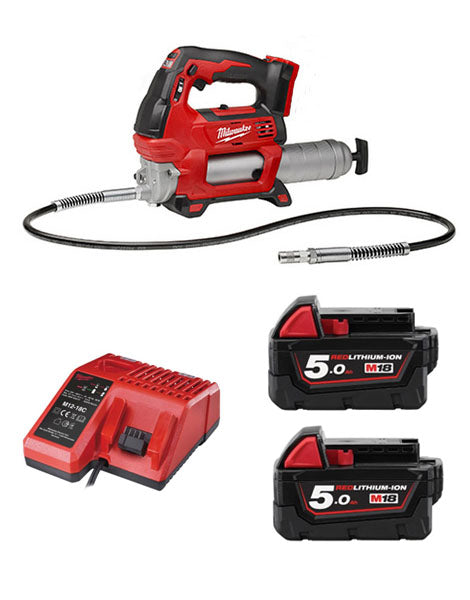 Milwaukee M18GG-502 18V Cordless Grease Gun 2 x 5amh Battery + Charger