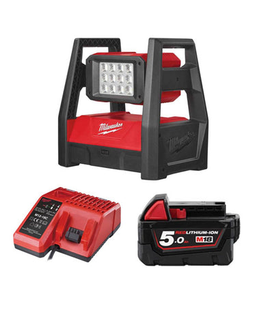 MILWAUKEE M18HAL-501 M18 110V LED HIGH PERFORMANCE AREA LIGHT 1 X 5AH + CHARGER