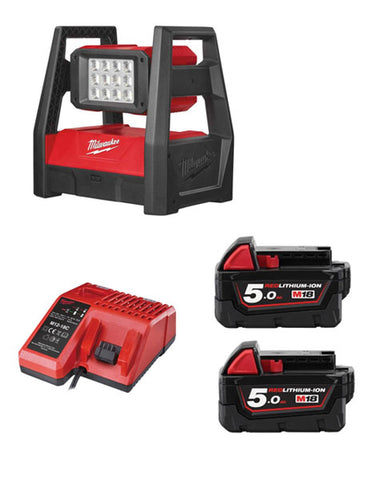 MILWAUKEE M18HAL-502 M18 110V LED HIGH PERFORMANCE AREA LIGHT 2 X 5AH + CHARGER