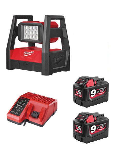 MILWAUKEE M18HAL-902 M18 110V LED HIGH PERFORMANCE AREA LIGHT 2 X 9AH + CHARGER
