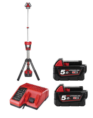 MILWAUKEE M18HSAL-502 M18 ROCKET LED TOWER LIGHT 110V OUTPUT 2 X 5AH BATTERIES + CHARGER