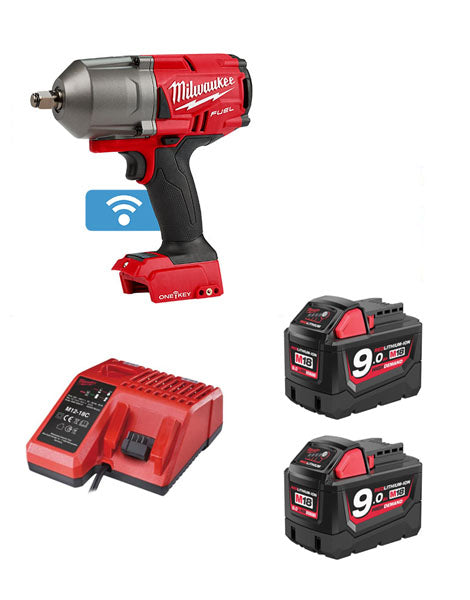 "Milwaukee M18ONEFHIWF12-902X FUEL One Key 1/2"" Impact Wrench 2 x 9amh Batteries Charger"