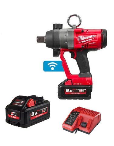 "Milwaukee M18ONEFHIWF1-802X 1"" High Torque Impact Wrench 2 x 8amh High Output Batteries & Charger"