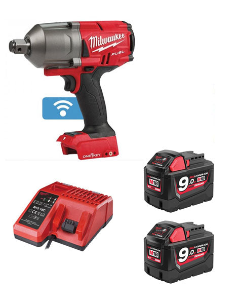 "Milwaukee M18ONEFHIWF34-902X FUEL One Key 3/4"" Impact Wrench 2 x 9amh Batteries Charger."