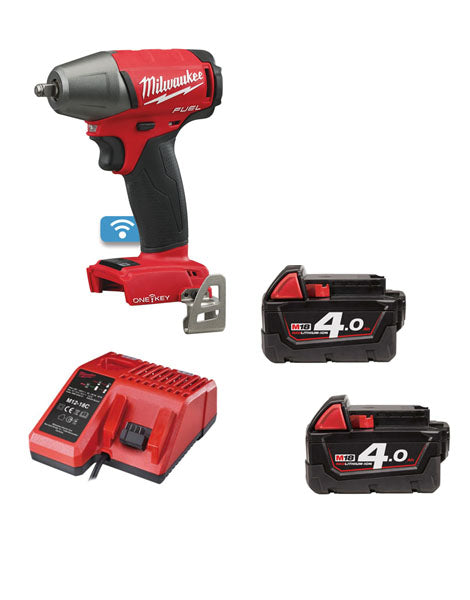 MILWAUKEE M18ONEIWF38-402 ONE KEY FRICTION RING IMPACT WRENCH 2 x 4AH BATTERIES + CHARGER