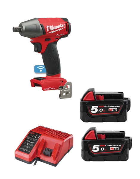 "Milwaukee M18ONEIWP12-502 M18 ONE KEY FUEL 1/2"" Impact Wrench with Pin Dent 2 x 5AH Batteries + Charger"
