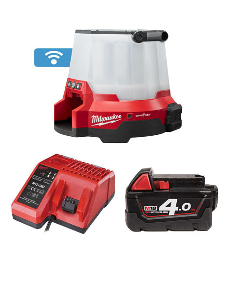 MILWAUKEE M18ONESLSP-401 18V 110V TRUEVIEW COMPACT SITE LIGHT 1 x 4Ah BATTERY + CHARGER